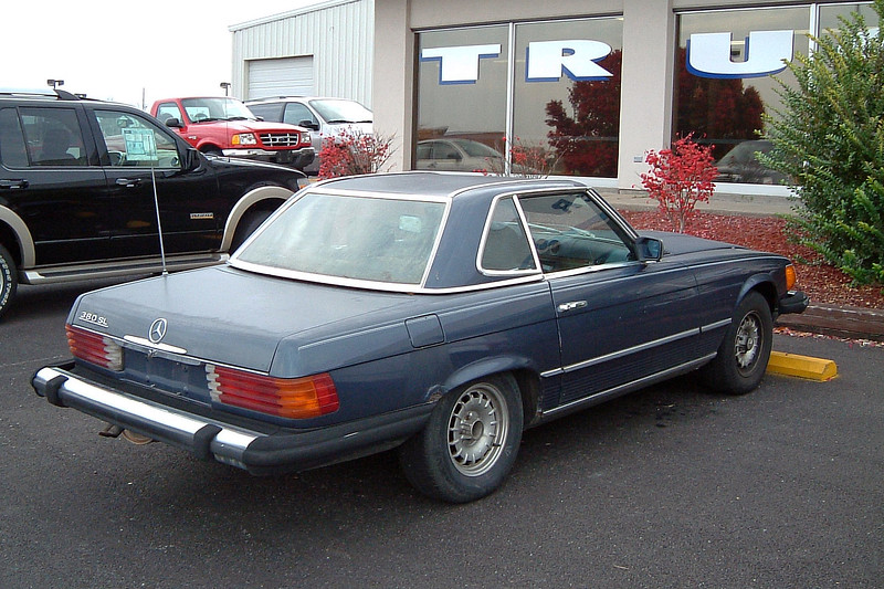 As an enthusiast, I'm always on the lookout for anything interesting that comes my way.  I spotted this 1982 Mercedes-Benz 380SL in front of our truck showroom during the previous afternoon.  The fact that it sat there overnight made me wonder if it was being traded in.