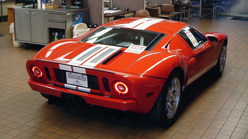 2005 Ford GT in the Joe Machens Ford showroom.