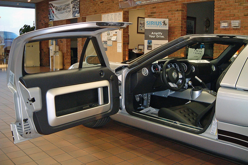 """The """"clamshell"""" doors pay homage to the original GT40 from the 1960s."""