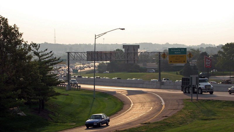 The photo above looks to the southwest following Paige Avenue toward the city, hence the abundance of traffic.