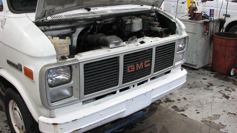 This GMC cargo van was brought in because it ran poorly and had no heat.  I was able to verify both concerns easily and brought it into my bay to see what was happening.