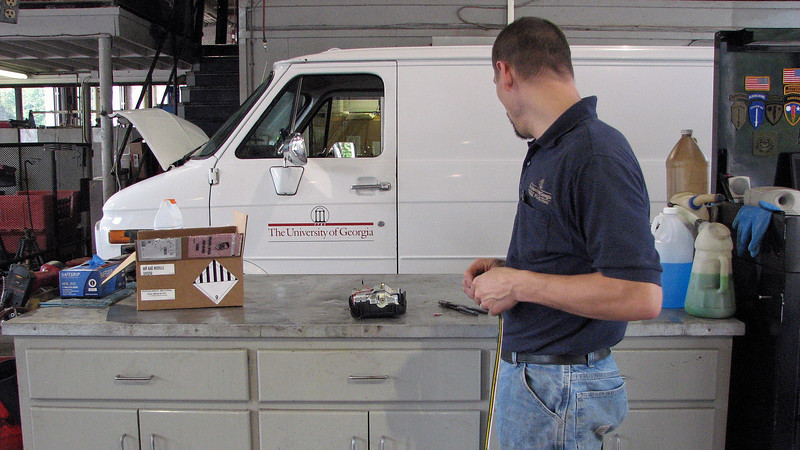 """Technician Phil had to dispose of an airbag from an old Dodge.  A live airbag is something you just don't throw into the trash can.  It has to be discharged first.  After asking Shop Foreman Brent, """"What should I do with it,"""" he was told to """"blow it up."""""""