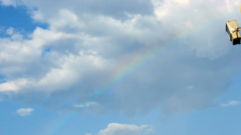 A faint rainbow.