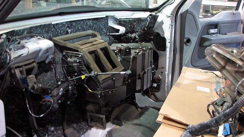 With the instrument panel sitting on the front seats, the HVAC case is easily accessible.
