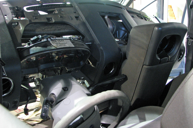 """The first step of the heater core replacement procedure on the modern Ford is """"Remove instrument panel.""""  The entire dash assembly needs to be removed from the bulkhead to access the HVAC case."""