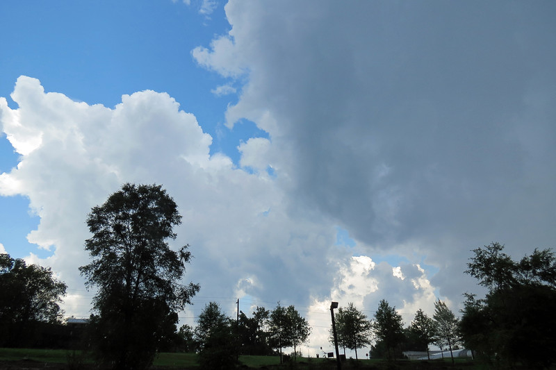 Rain continued to fall while the sky overhead of the shop was clear.