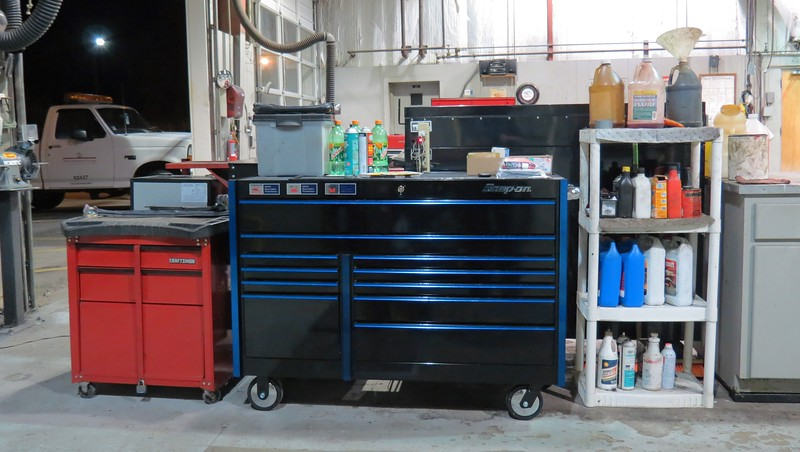 I can now store everything from the 3 pieces of the Mustang box in one single unit.  The small Craftsman box on the left in the photo above will still serve as a mobile table and workspace, as well as house my spare parts, nuts and bolts, and other odds and ends.