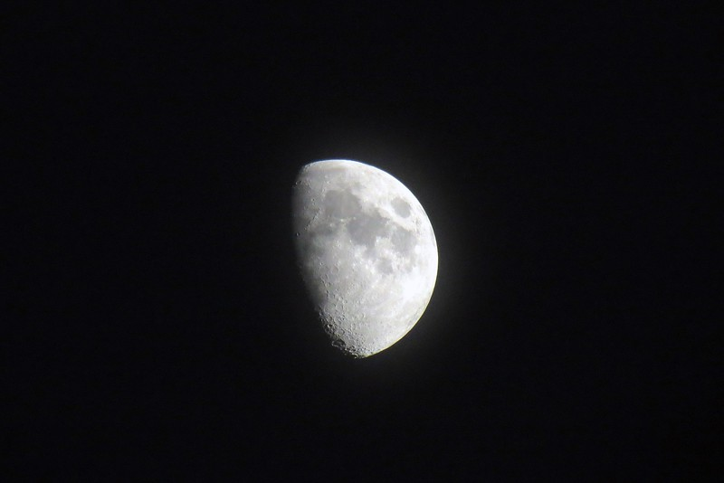 Since the sky was clear, I zoomed in on the partial moon.