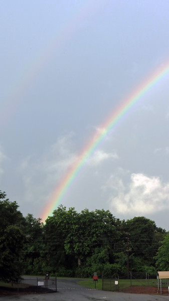 Not only was this rainbow quite intense, it also hung around for a while.