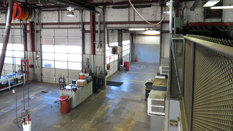 The two bays seen in the background of the photo above were added at some point.  The Service Lane where all incoming vehicles are taken in can be seen in the background of the photo above.  The current Shop Foreman's office is out of view to the right next to the Service Lane.