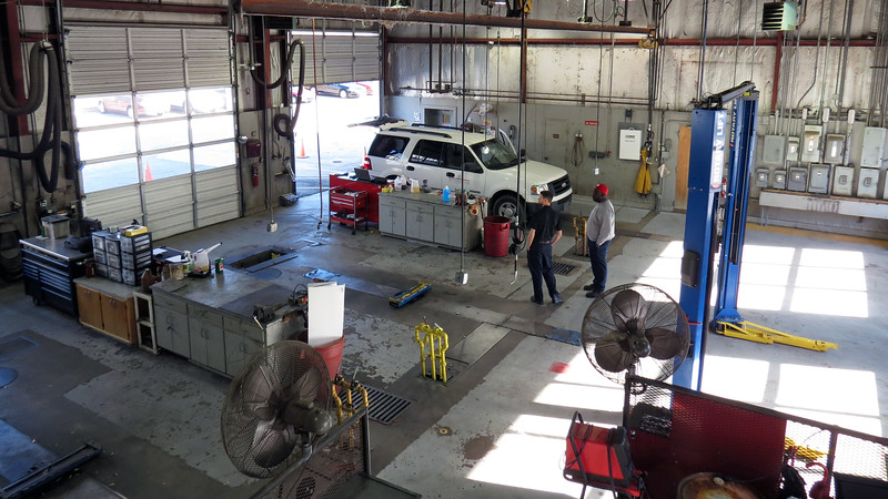 The photo above looks out over the car and light truck side of the shop.  My bay is on the far left of the photo.