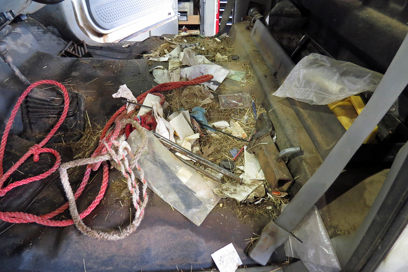 Wendel removed the bench seat only to find a farm hiding under the seat of the farm truck.