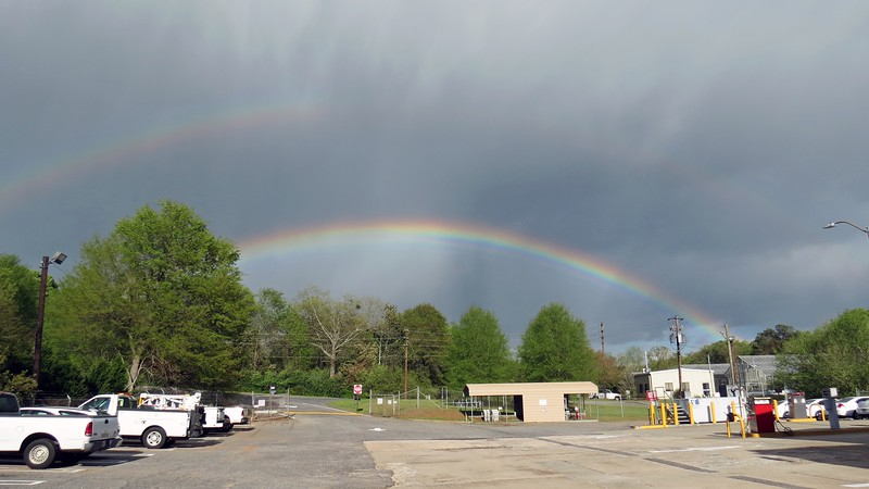 After a day of  intense rain and thunder, Mother Nature treated me to a beautiful rainbow as the skies began to clear.