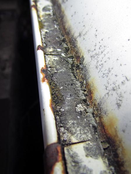 Deteriorated body seam sealer on the left side rain gutter.