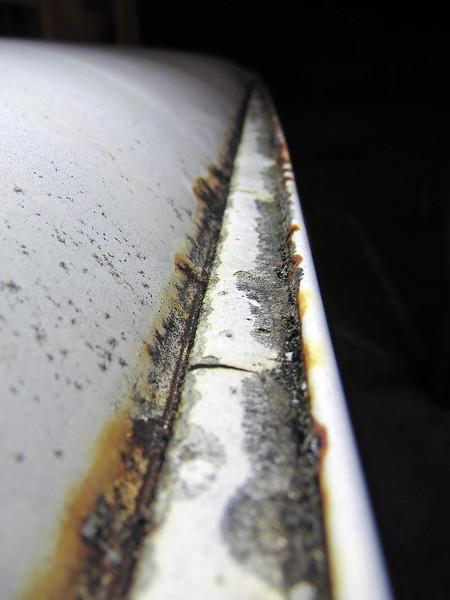 Left side rain gutter.