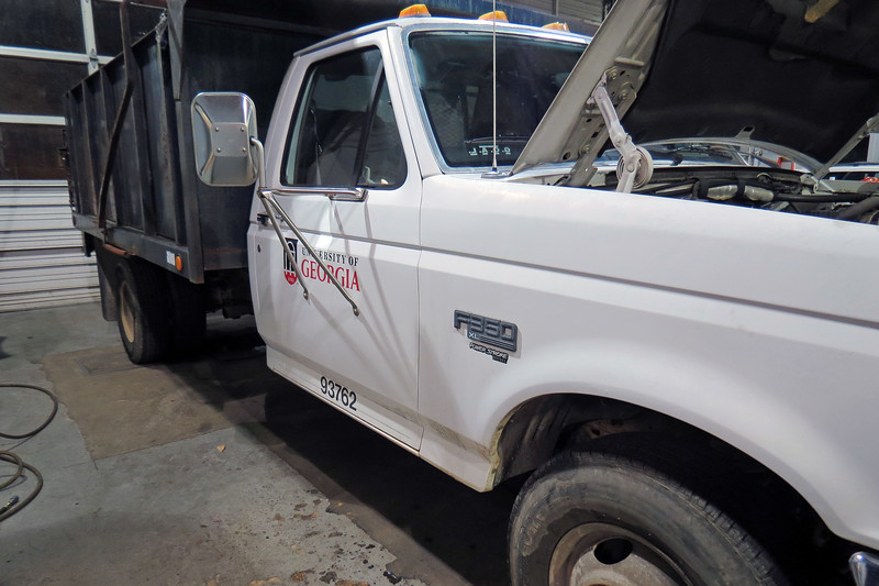 This truck was dropped off because of a fuel leak.
