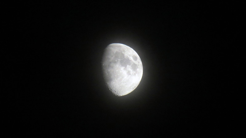 The hazy moon later that evening.