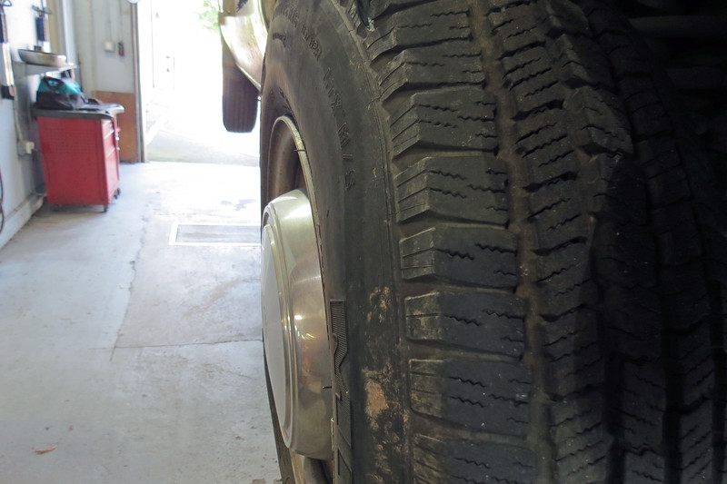 The deformation of the tire sidewall can be seen in the photo above.