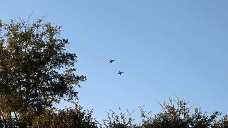 I spotted these two aircraft flying past in formation.