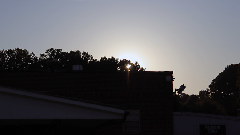 I took another picture of the sun setting behind the building.