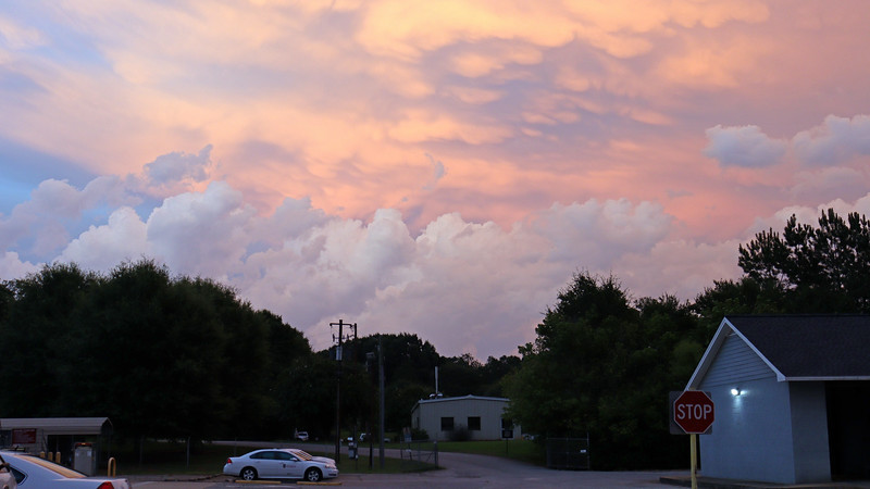 The contrasting colors of the different cloud layers were visible to the east.