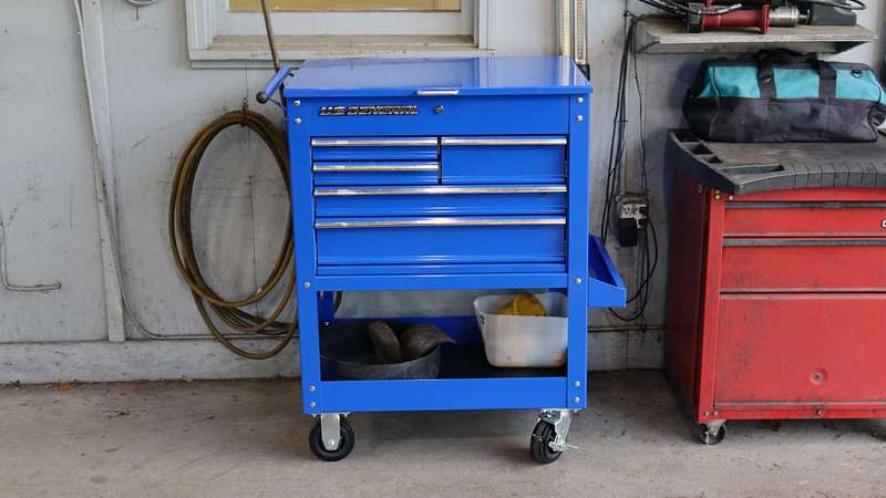 I'm happy with the blue color, (it matches the blue trim on my large Snap-On box).  The Krazi Philli box will be coming home to my garage where I can put it to good use.