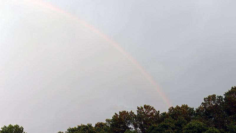 A faint rainbow off to the east.
