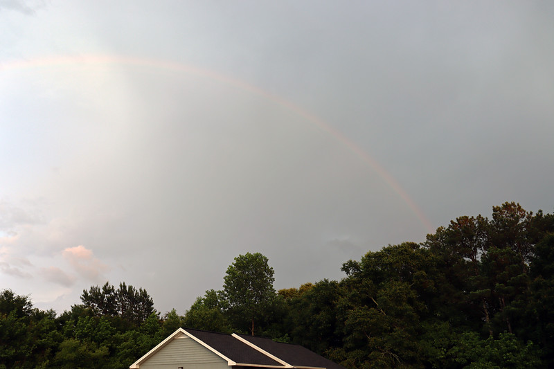 The rain was pretty intense for a brief period of time.  Once it had passed, I noticed a faint rainbow.