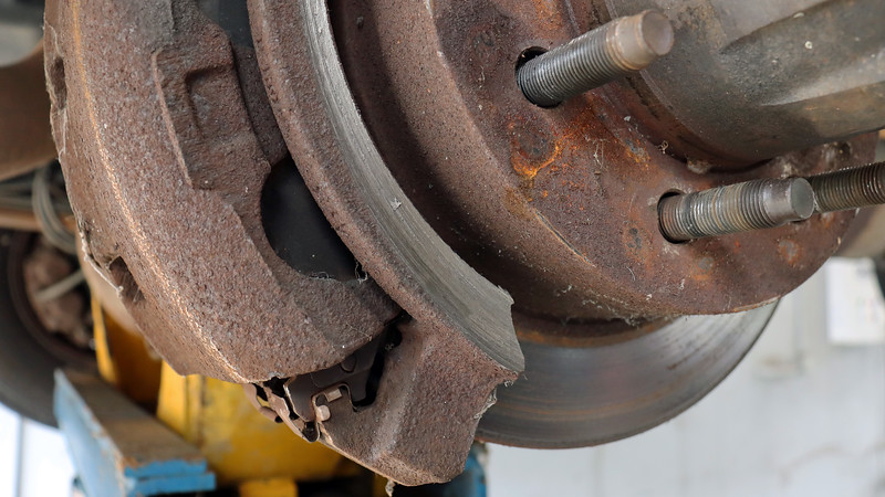 Oh my !  Something ground away at the brake caliper bracket, thus explaining the noise the customer was hearing.