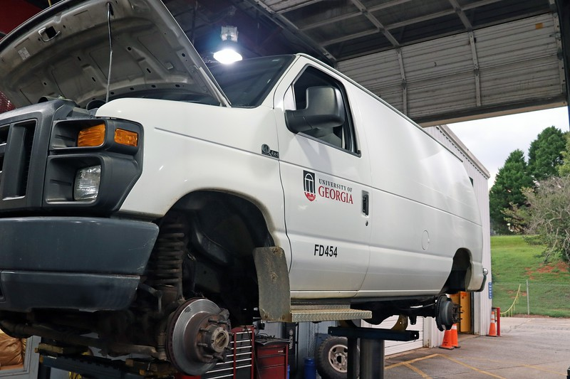 A rare Quigley 4x4 conversion Ford E-Series van arrived at the shop today for a brake warning light on concern.  Also noted was that the brake pedal sinks to the floor when the brakes are applied.  My road test consisted of driving the van from the parking lot into my bay because the brake pedal wasn't very effective.  Also of note was the fact that the master cylinder was almost empty, which explains the warning light.  A small puddle of brake fluid appeared behind the left front wheel.