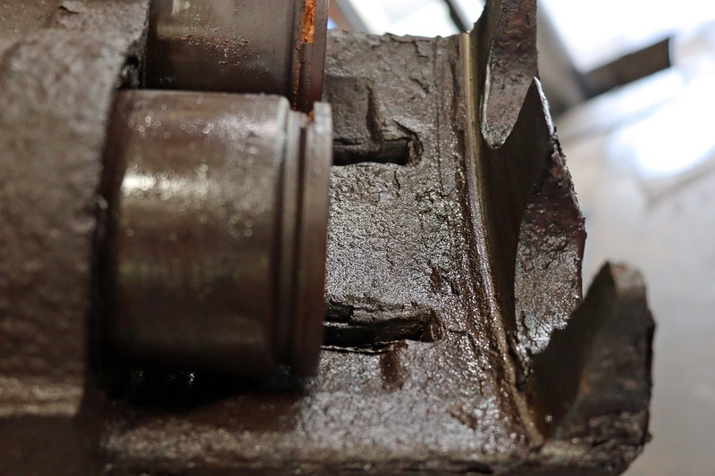 A deep groove appeared where the caliper had been rubbing against the rotor.