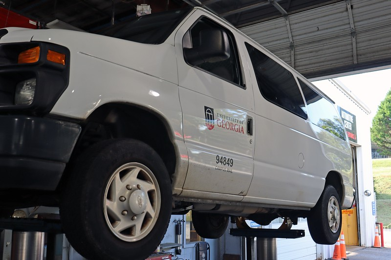 """Today's project was to install """"Cat Clamps"""" on one of Campus Mail's vans.  Several of their vehicles have had the catalytic converters stolen in recent months.  They decided to try the """"Cat Clamp"""" brand and see how it works as a theft deterrent."""