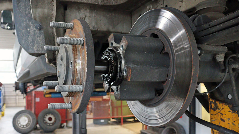 The axle must be removed next, which is a simple matter of removing the six bolts that hold it to the hub.
