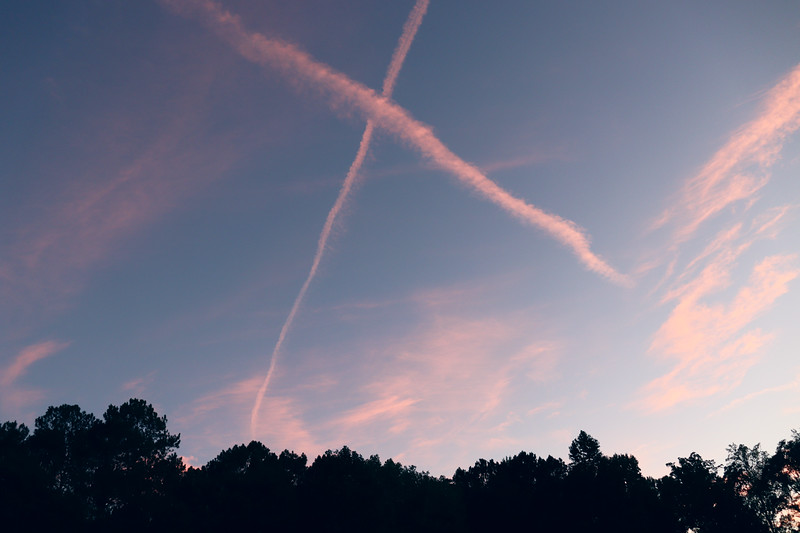 """I happened to notice an """"X"""" pattern drawn in the sky tonight."""