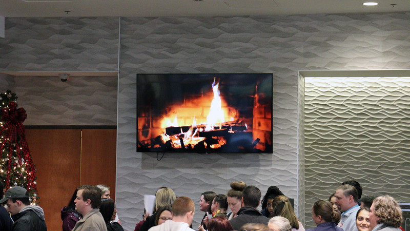 No worries, though.  The Bolton staff had the Christmas Fireplace playing on the monitor to keep everyone in line warm.