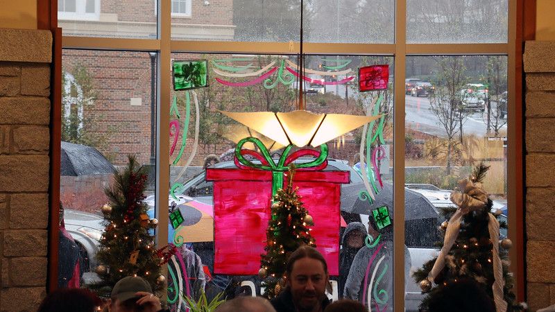 In addition to the multitude of decorations in the building, the windows were also painted this year.