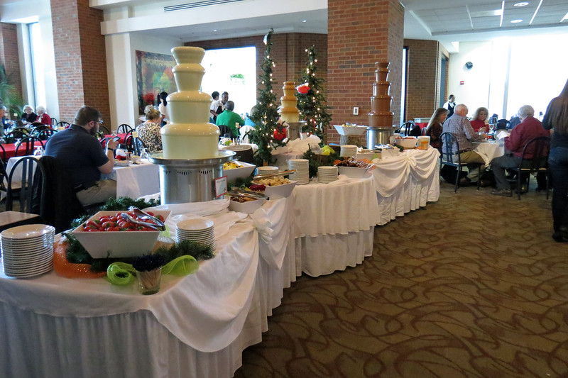 Diners were able to spike their sugar levels in a variety of ways.  Three chocolate fountains were featured this year.