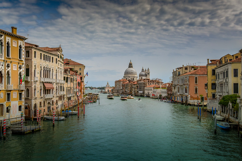 St. Marys Basilica from Ponte dell Academia, Venice, Italy.