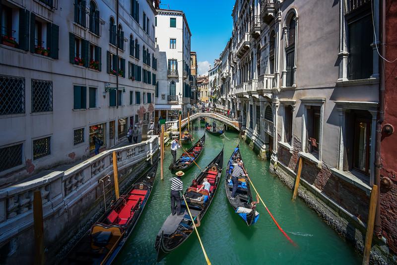 Canal traffic jam, Venice, Italy.