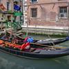 Gondolas outside hotel, Venice, Italy.
