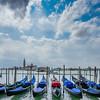Gondolas on St. Marks Square, Venice, Italy.
