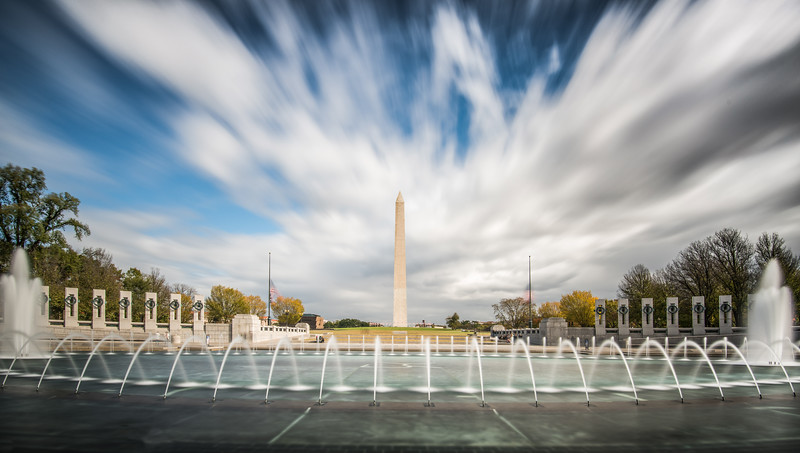 World War II Memorial, with Washington Monument in the background, Washington, D. C.