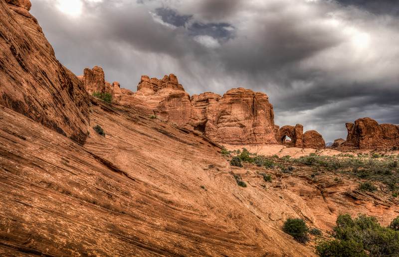 Geological Contours around Double Arch, Arches National Park, Utah