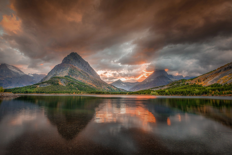 Sunset at Swiftcurrentt Lake, Glacier National Park, Montana