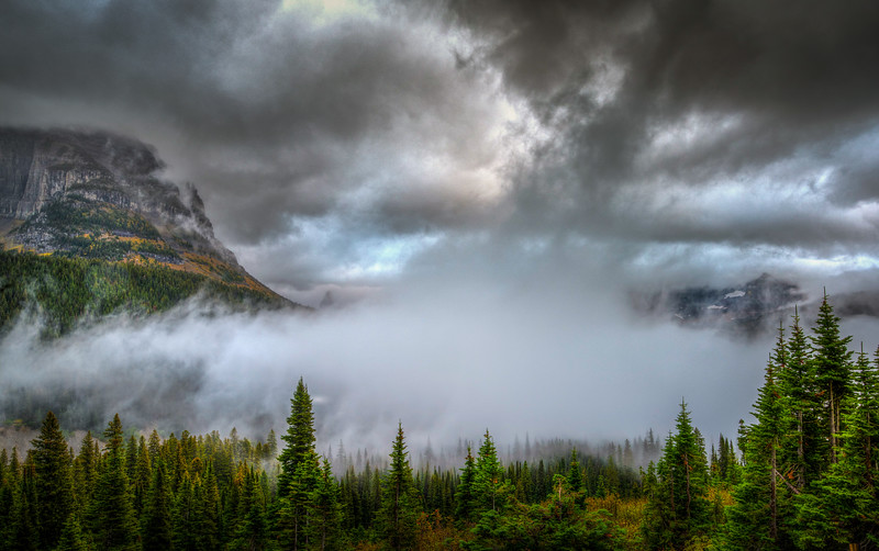 Fog rolling in, Glacier National Park, Montana.