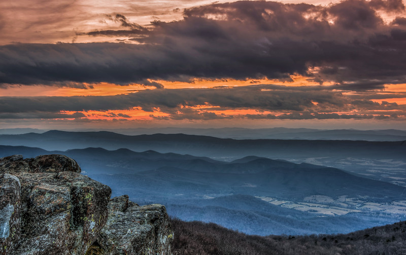 Sunset from Summit of Hawksbill Mountain, Shenandoah National Park, Virginia