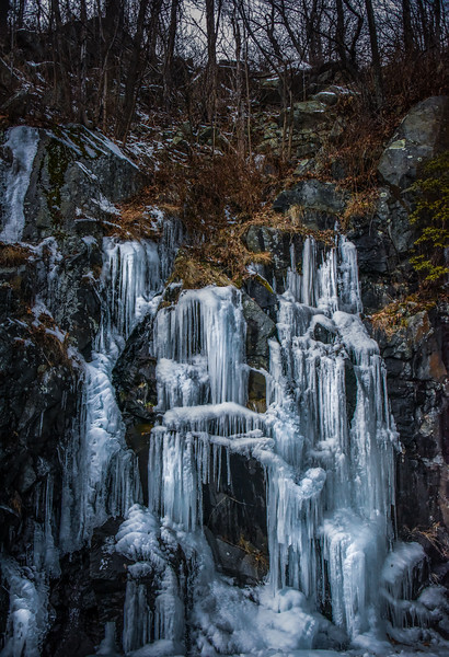 Ice Falls - natural spring leaking out of rocks along Skyline Drive.