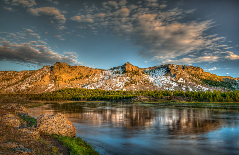 Sunset on Madison River, Yellowstone National Park, Wyoming