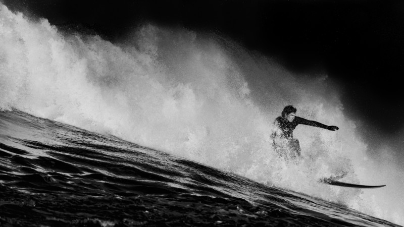 "Have you entered to win an autographed 24x35 metal print from Surf Photography legend Chris Burkard yet? No? Well, get to it!   http://smu.gs/1ayADbS  ""Fade To Black"" Inspired by the launch of Chris Burkard's SmugMug site, I went back in the archives and found this photo from the Maverick's surf competition. When I saw it I thought it would look cool developed like Toby Harriman's ""Modern Surf"" series. So I did. It's my ""Ode To Tobes"""