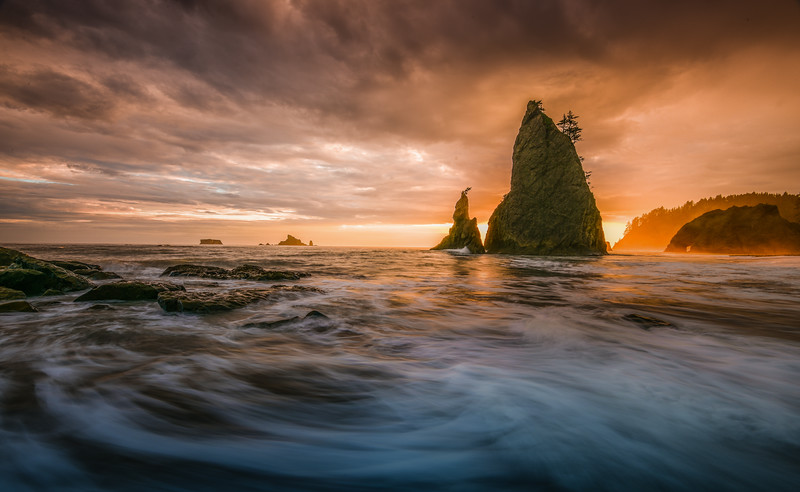 Sunset on Rialto Beach, Olympic National Park, Washington State